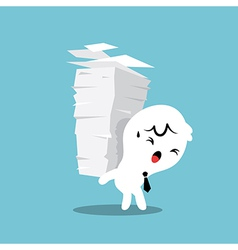 Business man carrying a stack of paper work load vector
