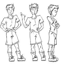 Set of full-length hand-drawn caucasian teens vector
