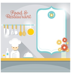 Chef at restaurant counter with blank sign vector