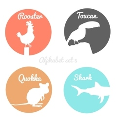 Color animals silhouettes labels in colorful vector