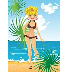 Blonde on the beach relaxing vector