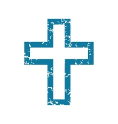 Grunge christian cross icon vector