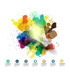 Creative light bulb idea with watercolor splatter vector