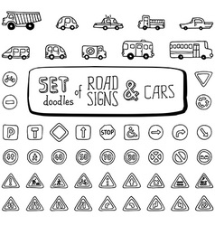 Set of doodles road signs and cars vector