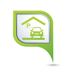 Parking under roof icon on green map pointer vector