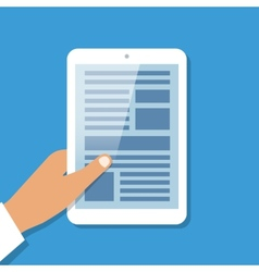 Human hand holds tablet pc with opened site page vector