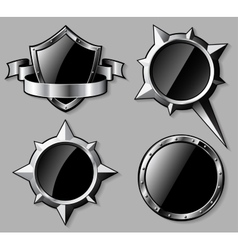 Set of steel glossy shields and compass roses vector