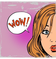 Wow surprise girls pop art comics retro style vector