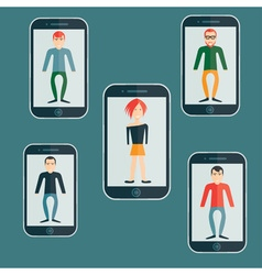 Four guys and girl flat design smartphone vector