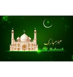 Eid mubarak card with taj mahal vector