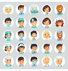 Doctors cartoon characters icons set2 vector