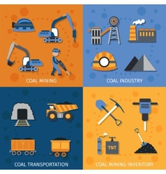 Coal industry set vector