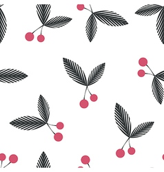 Seamless floral berry cherry pattern on white vector