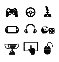 Black game icons set white background vector