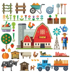 Farm in village vector