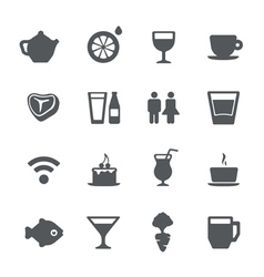Cafe restaurant icons set vector