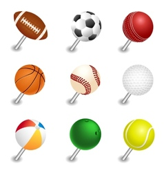 Sports ball pointers push pin set vector
