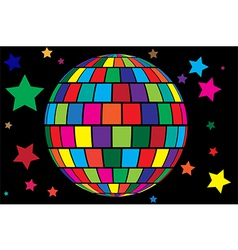 Disco ball and stars vector