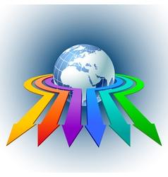 Arrows around globe vector