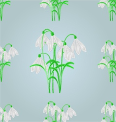Seamless texture snowdrops blue spring background vector