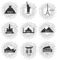 Of world famous travel badges vector