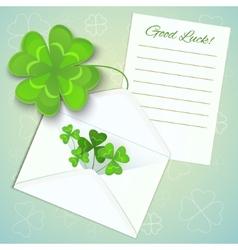 Letter envelope and clovers for stpatricks day vector
