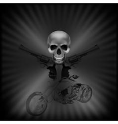 Background biker skull and revolvers vector