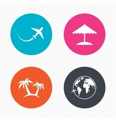 Travel trip icon airplane world globe symbols vector