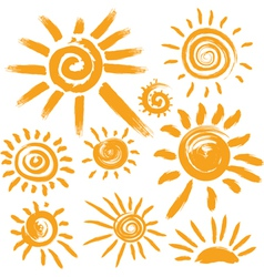 Set of handwritten sun symbols vector
