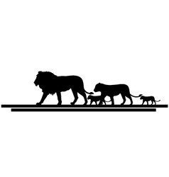 Lion family silhouette vector