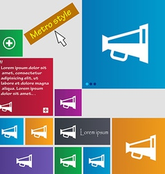 Megaphone soon loudspeaker icon sign metro style vector