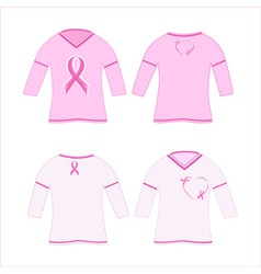 T-shirts with pink ribbon vector