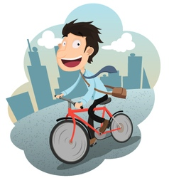 Businessman riding bicycle to work vector