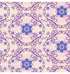 Seamless pink blue floral pattern vector