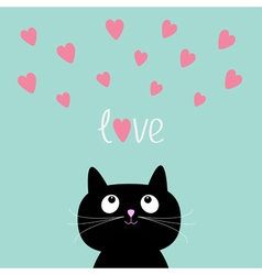 Pink hearts and cute cartoon cat flat design style vector