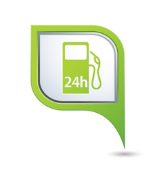 Petrol station 24h green pointer vector