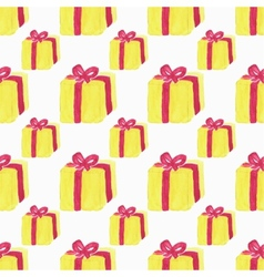 Watercolor seamless pattern with gift box on the vector
