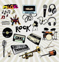 Music elements colorful vector