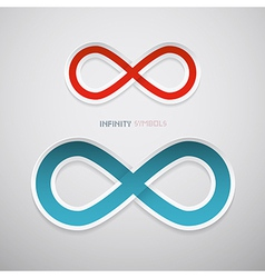 Red and blue paper infinity symbols vector