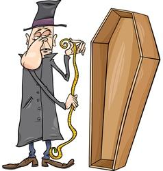 Undertaker with coffin cartoon vector