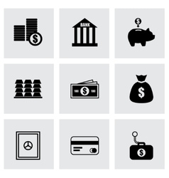 Black bank icons set vector