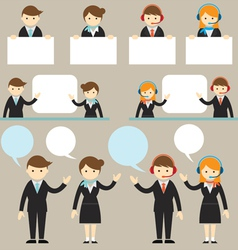 Businessman male and female show presentation with vector