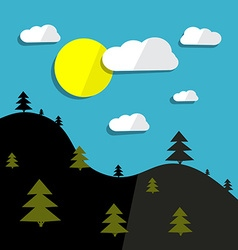 Hills landscape and sun with trees vector