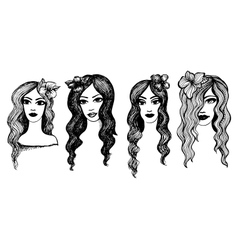Long-haired girls with flowers vector