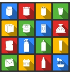 Pack container icons vector