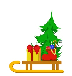 Christmas tree with boot and a gift vector