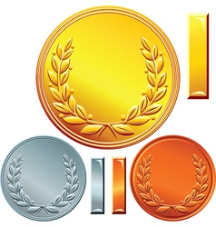 Gold silver and bronze coins vector