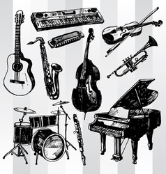 Music instruments hand drawn vector
