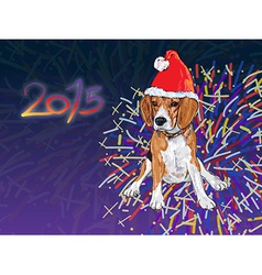 Beagle with fireworks vector