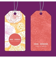 Warm day flowers vertical round frame pattern tags vector